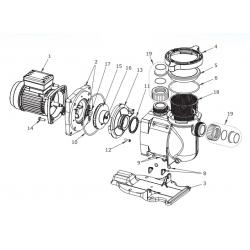 Reservedele til Pentair SuperFlo cirkulationspumper ( samt Sta-Rite 5P1R)