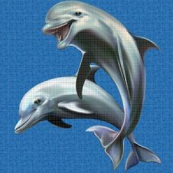 Mosaik motiv - Happy dolphins