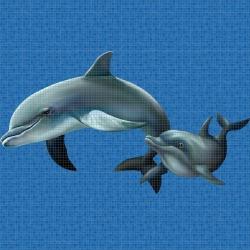 Mosaik motiv - Dolphin family