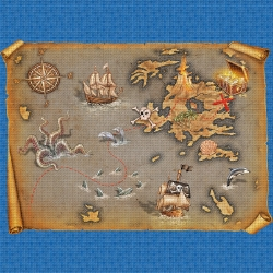 Mosaik motiv - Pirates map