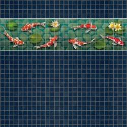 Mosaik border - Koi fish